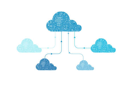 Cloud computing technology with circuit cloud on white background vector illustration