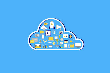 Cloud computing technology with icons on blue background vector illustration Ilustracja