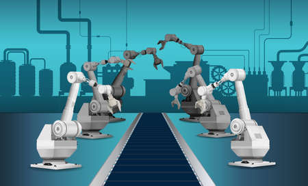 Automation factory with robot assembly line in factory vector illustration Ilustracja