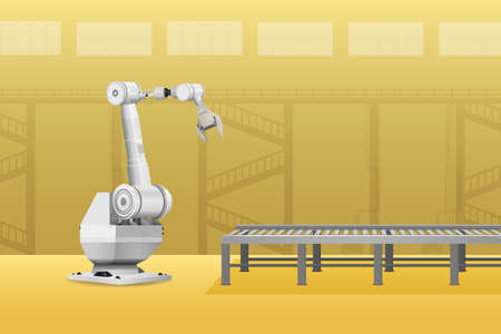 White robot arm with conveyor line in factory vector illustration Ilustracja