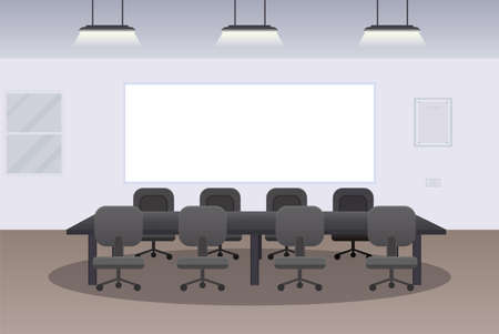 Office interior with desk and chairs flat design vector illustration Ilustracja