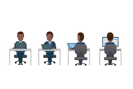 Set of office workers with computer notebook flat design vector illustration