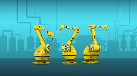 Yellow welder robot arms in factory vector illustration