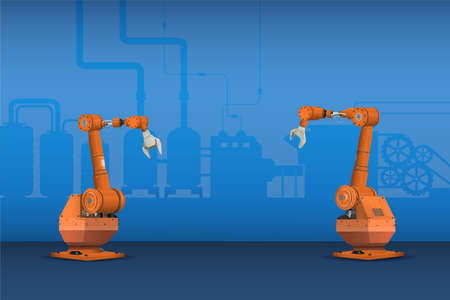 Orange robot arms in factory vector illustration