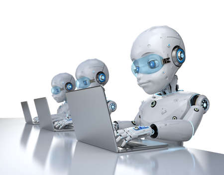 Automation office workers concept with 3d rendering group of cute robots work with computer notebook isolated on white background Banco de Imagens