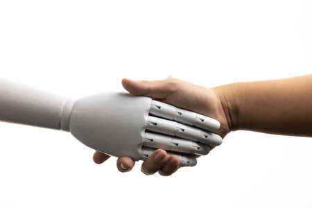 White robot hand shake with human isolated on white background