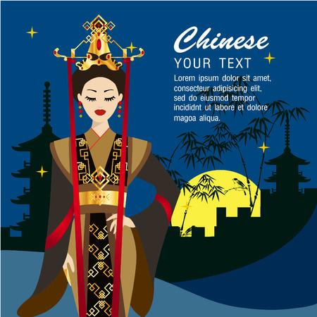 The Chinese beautiful women with background Çizim