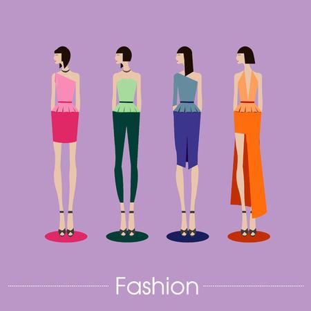 top model: set beautiful fashion girls top model