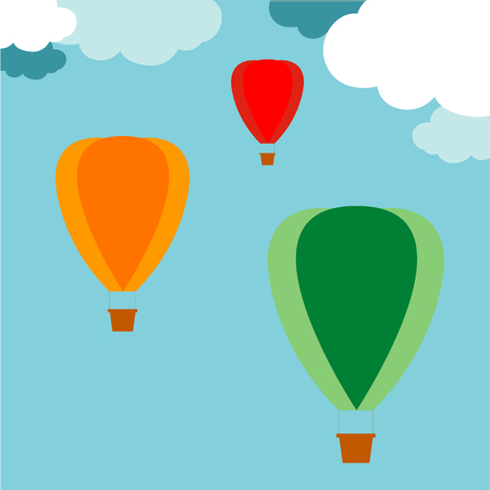 air: colorful hot air balloon Illustration