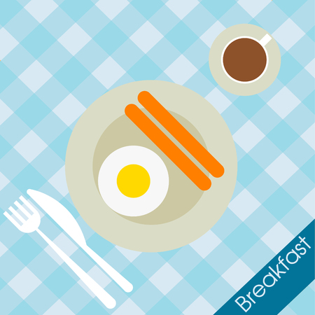fried food: Breakfast food  with coffee cup fried eggs and vector illustration