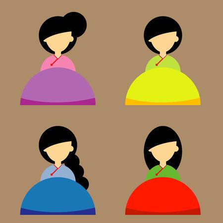korea girl: Korea girl Flat Icons set Design