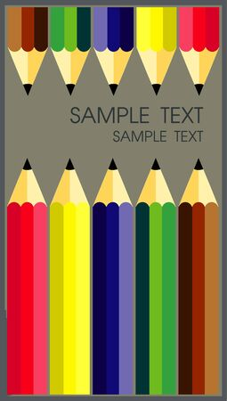 many colored: Many colored wooden pencils text on white, vector illustration