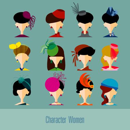derby hats: Hat set design in flat design Illustration