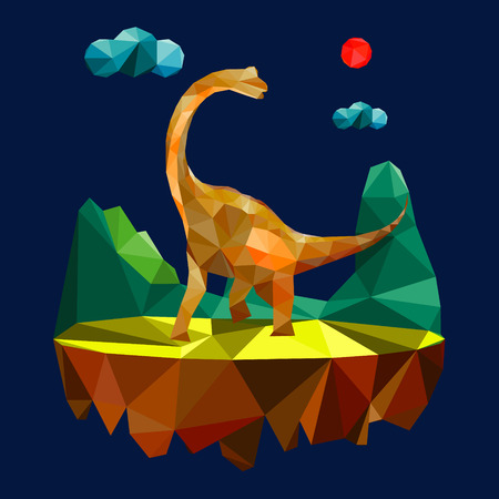 extinction: Polygon style dinosaur vector Illustration