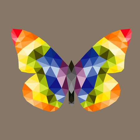 marge: Abstract polygonal butterfly low poly vector illustration. Illustration