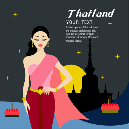 wat arun: thailand beautiful women in loy krathong festival,Thailand full moon traditional festival Illustration