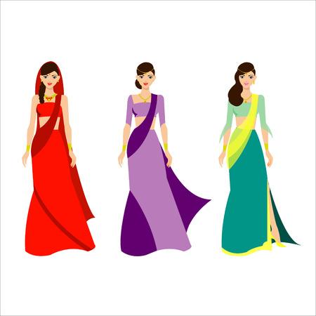 exotic woman: Indian beautiful woman Illustration