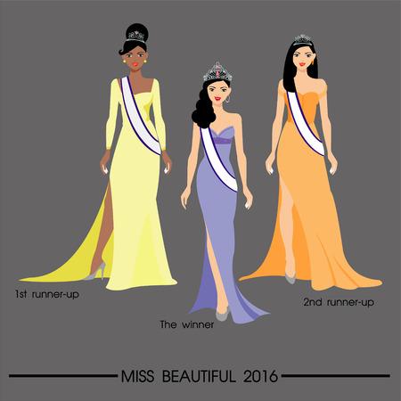 rich girl: The beautiful women in long dress Illustration