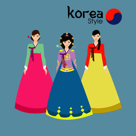 traditional: Traditional Korean style. Woman in national dress