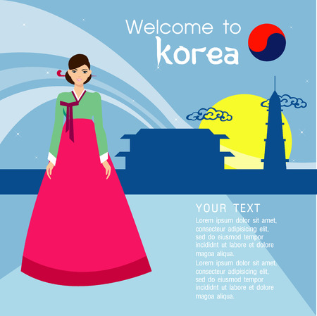 korean national: Traditional Korean style. Woman in national dress