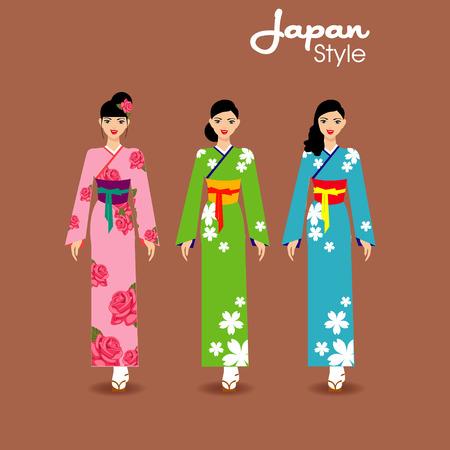 flores chinas: muchacha japonesa hermosa en kimono en el fondo. Ilustración del vector. Vectores