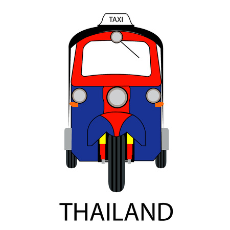 tuk tuk: Thai traditional Tuk Tuk in Bangkok of Thailand, Vector illustration.