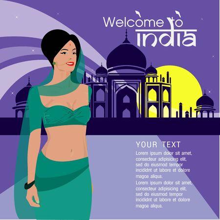 exotic dancer: Indian beautiful woman Illustration