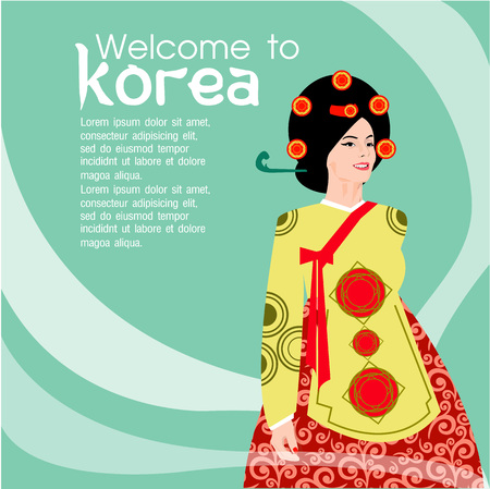 korean traditional: Traditional Korean style. Woman in national dress