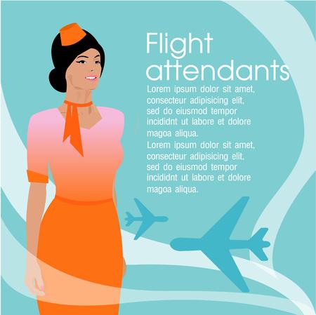 flight attendant: Beautiful young flight attendant Illustration