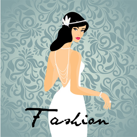 elegant woman: Woman in gloves and an elegant white dress (lady) Illustration