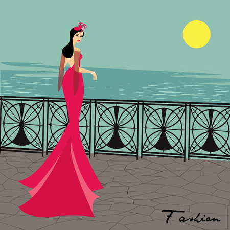 enigma: Woman in gloves and an elegant long pink dress (lady)