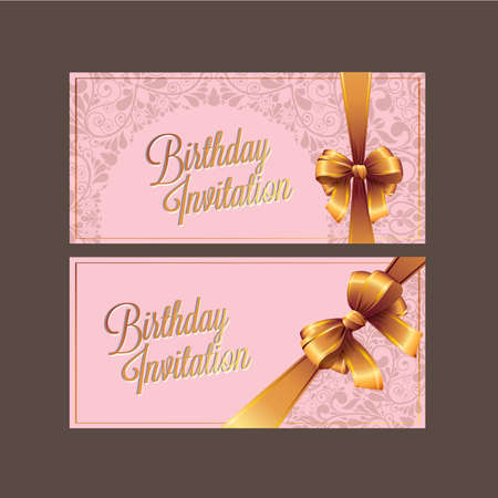 play date: Vector birthday card with gold ribbon and birthday text.