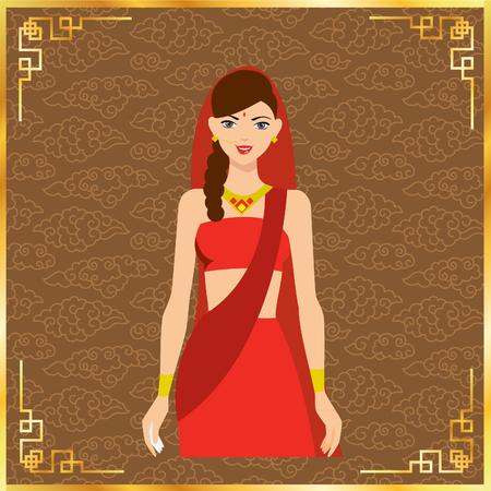 bailarinas arabes: Ilustración del vector de la muchacha oriental en rojo (niña, indio, mujer) Vectores