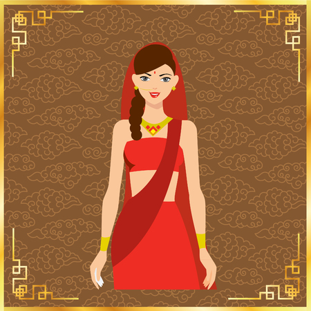 belly dancer: Vector illustration of eastern girl in red (girl, indian, woman)