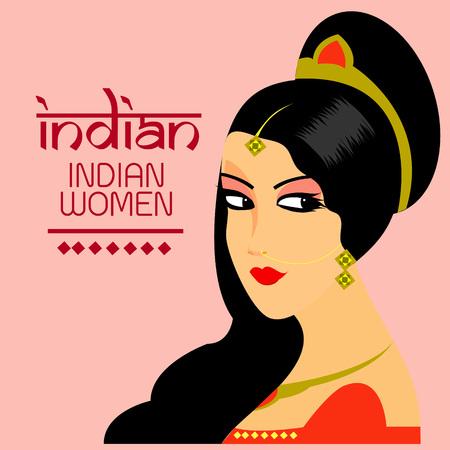 bailarinas arabes: Las hermosas mujeres se enfrentan a la India de diseño vectorial