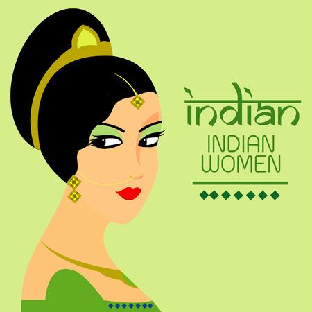 bailarinas arabes: Las hermosas mujeres se enfrentan a la India de dise�o vectorial