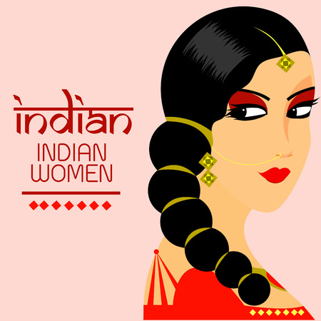 east indian: The Beautiful India women face vector design