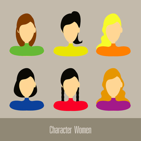pony tail: Character women set vector