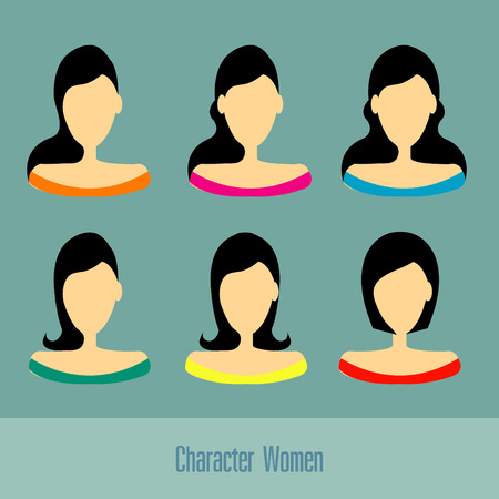 blonde curly hair: Character women set vector