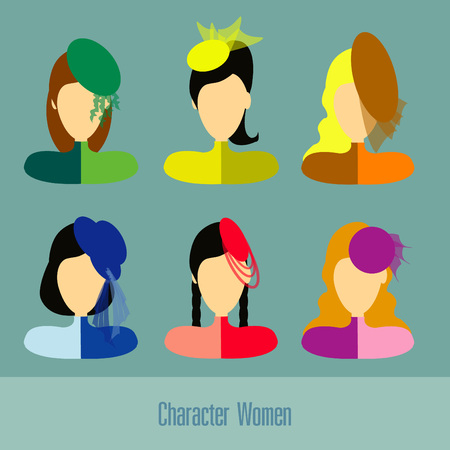 blonde teenage girl: Character women set vector