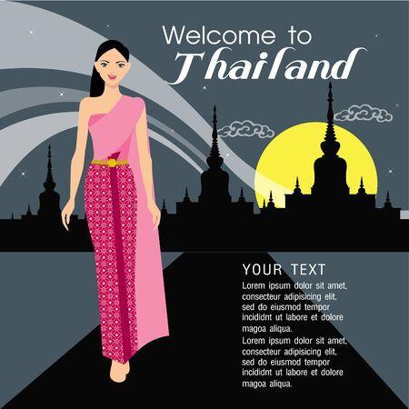 thai women: Beautiful Thai women in pin dress on background Illustration
