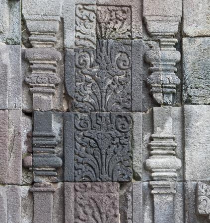 Carved stone at Borobudur on Java, Indonesia photo