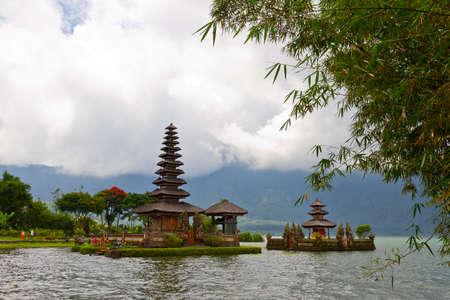 Beautiful temple on lake in extinct volcano crater, Pura Ulun Danu Bratan, Bali photo