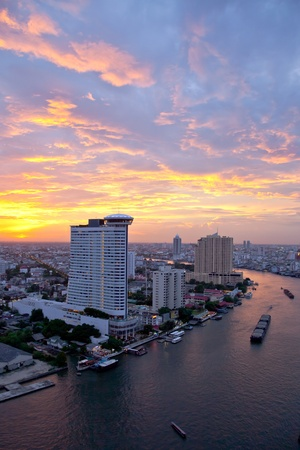 Bangkok skyline at twilight, Thailand