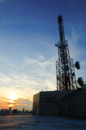 Telecommunications tower for radio and sattelite communications photo