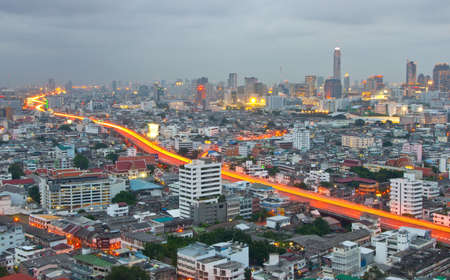 Night shot of a city skyline, Bangkok, Thailand Stock Photo - 13627126
