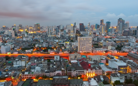 technoligy: Night shot of a city skyline, Bangkok, Thailand Editorial