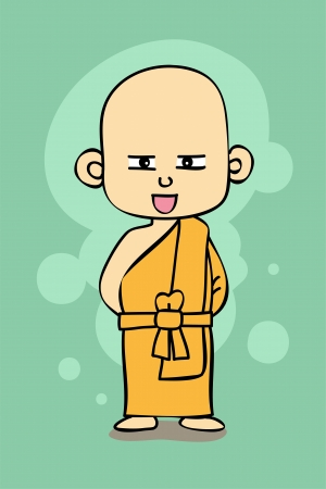 Thai Buddhist monk cartoon style Vector