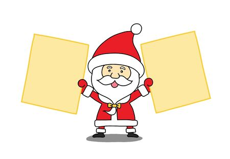 Funny Santa claus with a sheet of paper Vector