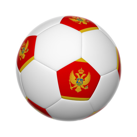 Flags on soccer ball of Montenegro Stock Photo